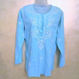 Willi Smith Embroidered Blouse from India L/XL